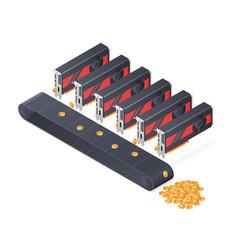 Gpu mining bitcoin concept isometric vector
