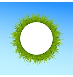 Green grass round frame on blue sky background vector