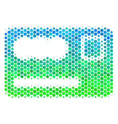halftone blue-green banking card icon vector image