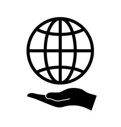 hand holds globe vector image
