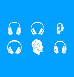 headphones icon blue set vector image