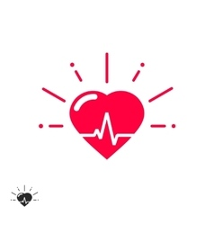 Heart beat icon with cheering rays vector
