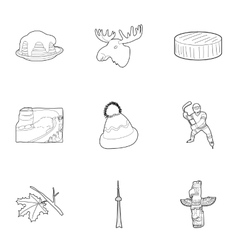 Holiday in Canada icons set outline style vector