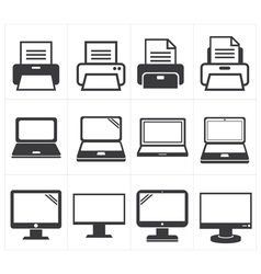 Icon office equipment Fax laptopprinter vector