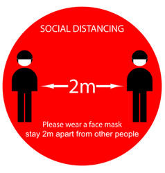 Icon people concept social distancing stay 2m vector