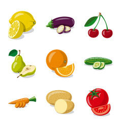 isolated object of vegetable and fruit logo set vector image