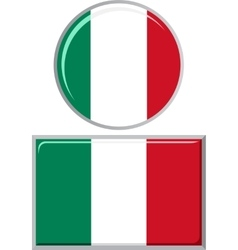 Italian round and square icon flag vector