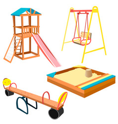 Kids playground equipment with swings and slides vector