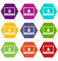 laptop icon set color hexahedron vector image