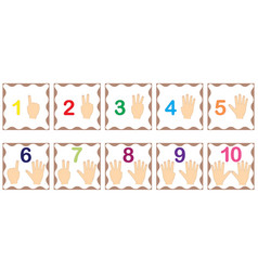 Learning numbers mathematics with fingers hand vector
