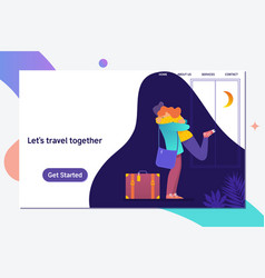 let s travel togetherhappy couple travel together vector image
