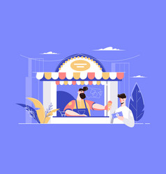 man buying ice-cream in kiosk vector image