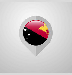 Map navigation pointer with papua new guinea flag vector