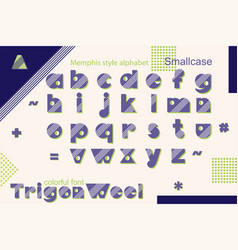 memphis style decorative alphabet typeface pop vector image