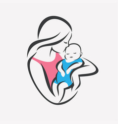 mother and baby stylized symbol mom kiss her vector image