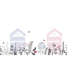nature seamless background with hand drawn vector image