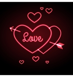 Neon sign Love heart vector image