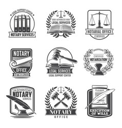 Notary service notarial office icons set vector