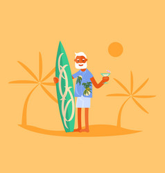 old man with surfboard vector image
