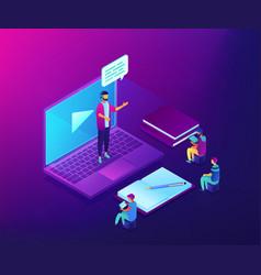 online presentation isometric 3d concept vector image