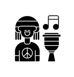 Reggae music black glyph icon vector