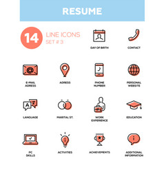 Resume - modern simple thin line design icons vector