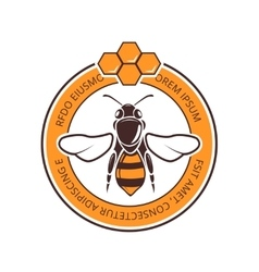 Retro beekeeper honey bee logo vector image
