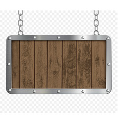 retro signboard made metal and wood vector image