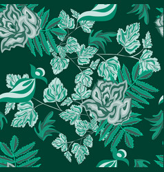 roses green abstract seamless pattern vector image