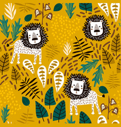 Seamless jungle pattern with lions and tropical vector