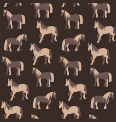 Seamless pattern of beautiful prancing horses in vector