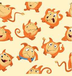 Seamless pattern with cute fox in different moods vector