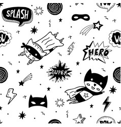 seamless pattern with superhero character vector image