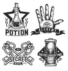 set alchemy emblems labels badges logos vector image