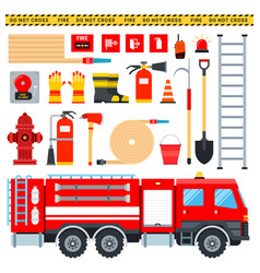 set firefighter icons flat vector image
