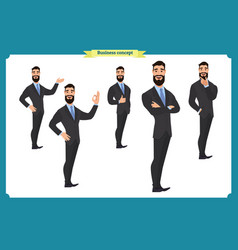Set of business man presenting in various action vector