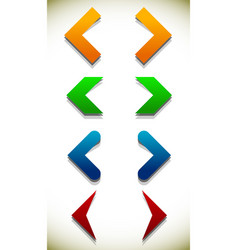 set of colorful icons with arrows arrowheads vector image