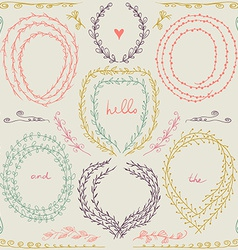 Set of hand drawn floral frame and lines border in vector image