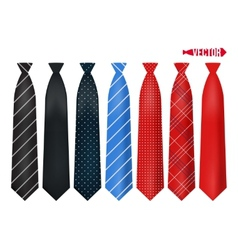 Set realistic colorful neckties vector image