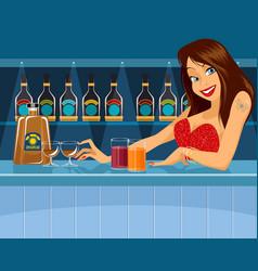 sexy bartender behind bar vector image