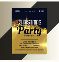 Shiny golden premium christmas invitation party vector