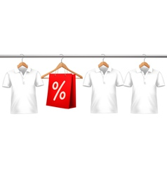 Shirts with price tags hanging on hangers Concept vector