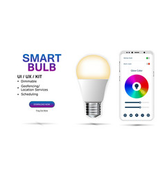 Smart bulb controlled smartphone vector
