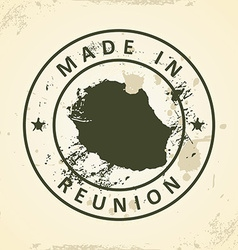 Stamp with map of Reunion vector