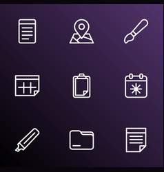 Stationary icons line style set with clipboard vector