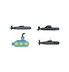 submarine icon set flat style vector image