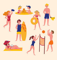 Summer activities on the beach sport and leisure vector