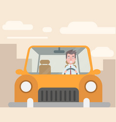 the manager went to the car to work vector image