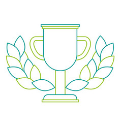 trophy cup winner with wreath vector image