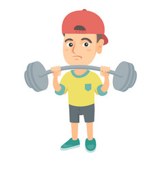 Upset caucasian boy lifting heavy weight barbell vector